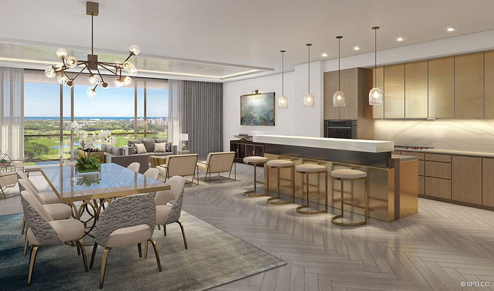 Residence Kitchen and Dninig Room in The Residences at Mandarin Oriental, Luxury Condos in Boca Raton, Florida