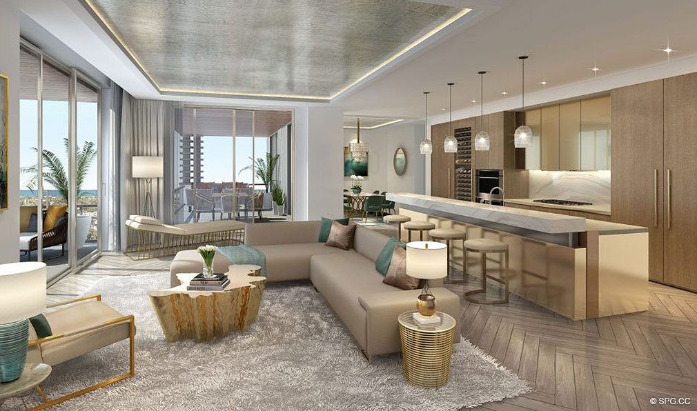 Residence Living Room and Kitchen in The Residences at Mandarin Oriental, Luxury Condos in Boca Raton, Florida