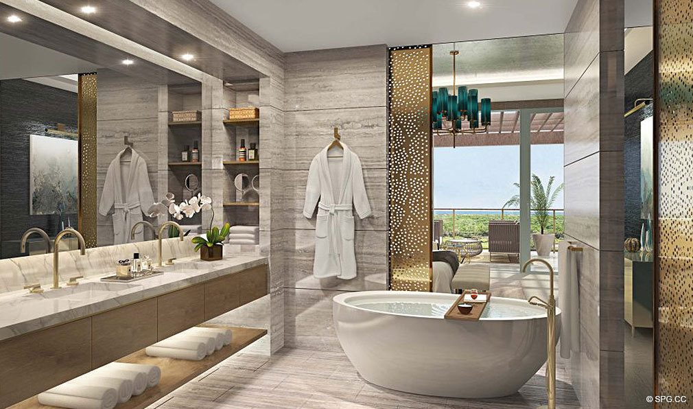 Luxurious Master Bath in The Residences at Mandarin Oriental, Luxury Condos in Boca Raton, Florida