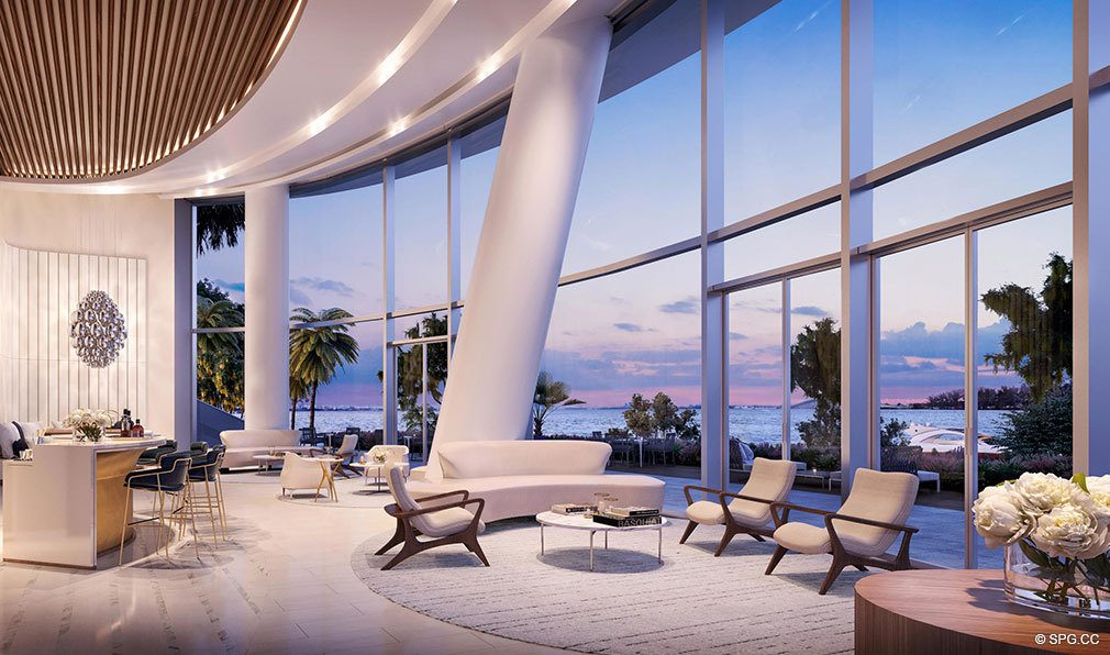 Lobby with Stunning Bay Views at Una Residences, Luxury Waterfront Condos in Miami, Florida, Florida 33129