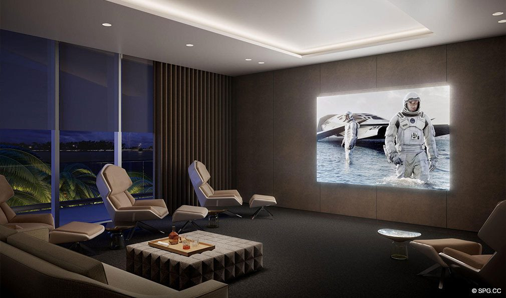 Media Room at Una Residences, Luxury Waterfront Condos in Miami, Florida, Florida 33129