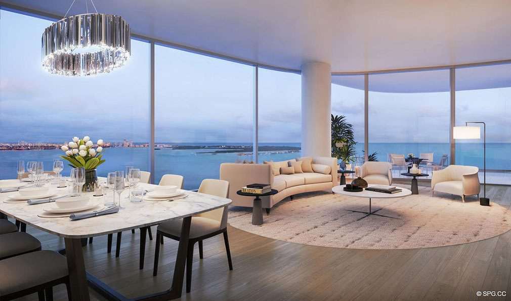 Residence Living Room Design in Una Residences, Luxury Waterfront Condos in Miami, Florida, Florida 33129