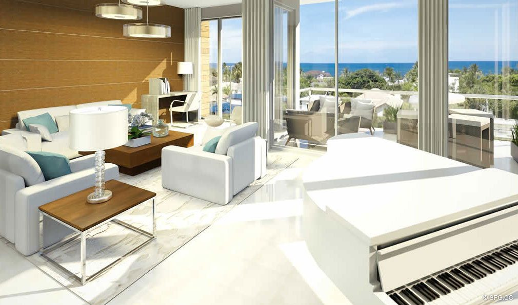 Living Room with Partial Ocean View from 30 Thirty North Ocean, Luxury Seaside Condos in Fort Lauderdale, Florida, 33308.