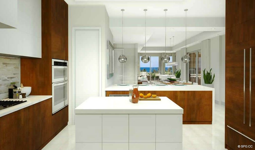Beautiful Open Kitchen Design in 30 Thirty North Ocean, Luxury Seaside Condos in Fort Lauderdale, Florida, 33308.