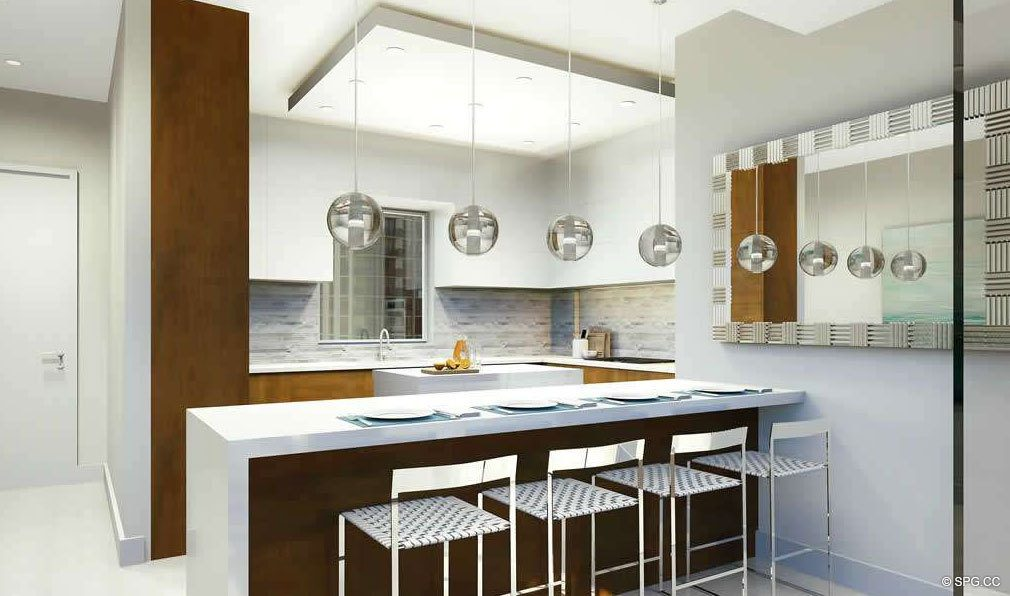 Kitchen with Bar Seating in 30 Thirty North Ocean, Luxury Seaside Condos in Fort Lauderdale, Florida, 33308.