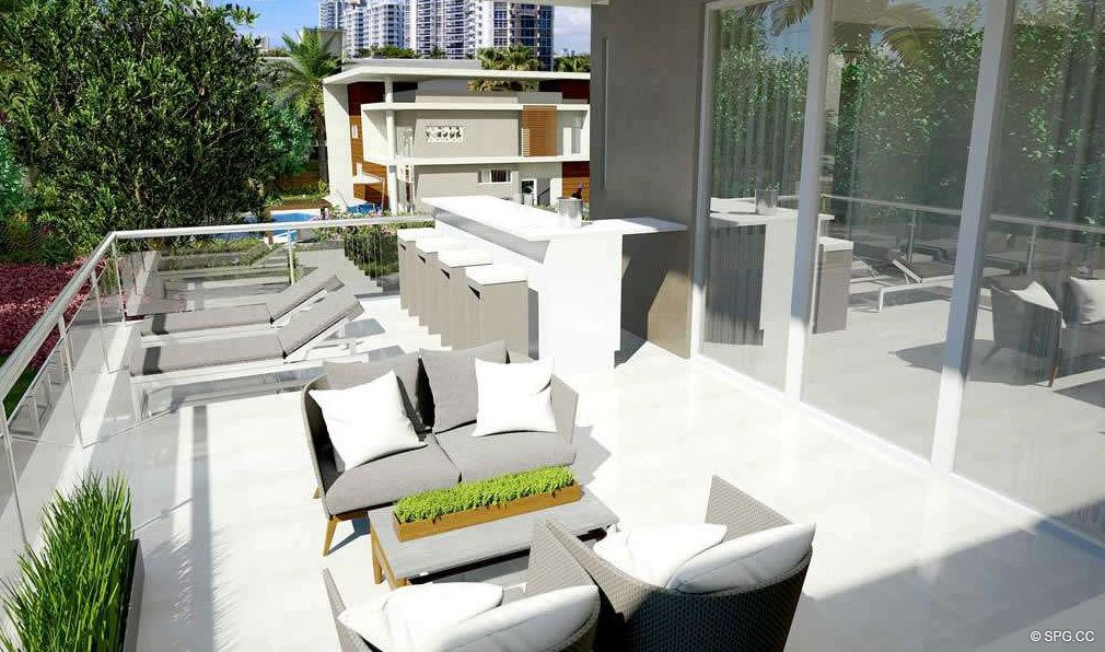 Large Rear Balcony for 30 Thirty North Ocean, Luxury Seaside Condos in Fort Lauderdale, Florida, 33308.