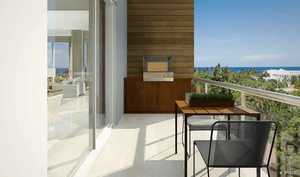 Balcony with Partial Ocean Views from 30 Thirty North Ocean, Luxury Seaside Condos in Fort Lauderdale, Florida, 33308.