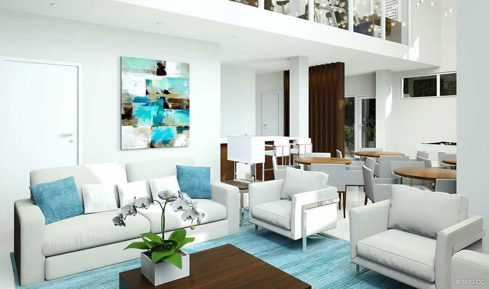 Clubhouse Lounge at 30 Thirty North Ocean, Luxury Seaside Condos in Fort Lauderdale, Florida, 33308.