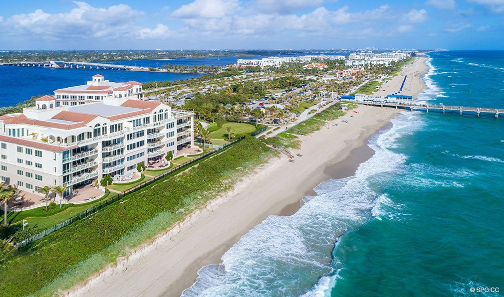 Aerial Beach View of Bellaria, Luxury Oceanfront Condos in Palm Beach