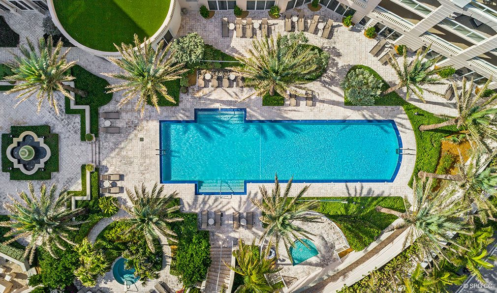 Aerial View of the Pool Deck at Bellaria, Luxury Oceanfront Condos in Palm Beach