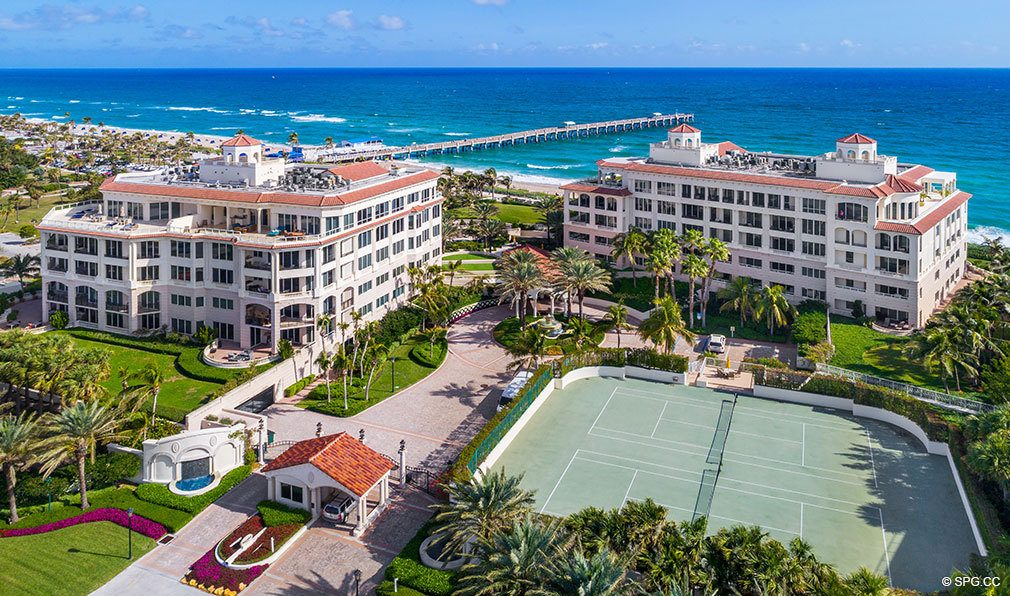 Aerial View of Tennis Courts at Bellaria, Luxury Oceanfront Condos in Palm Beach