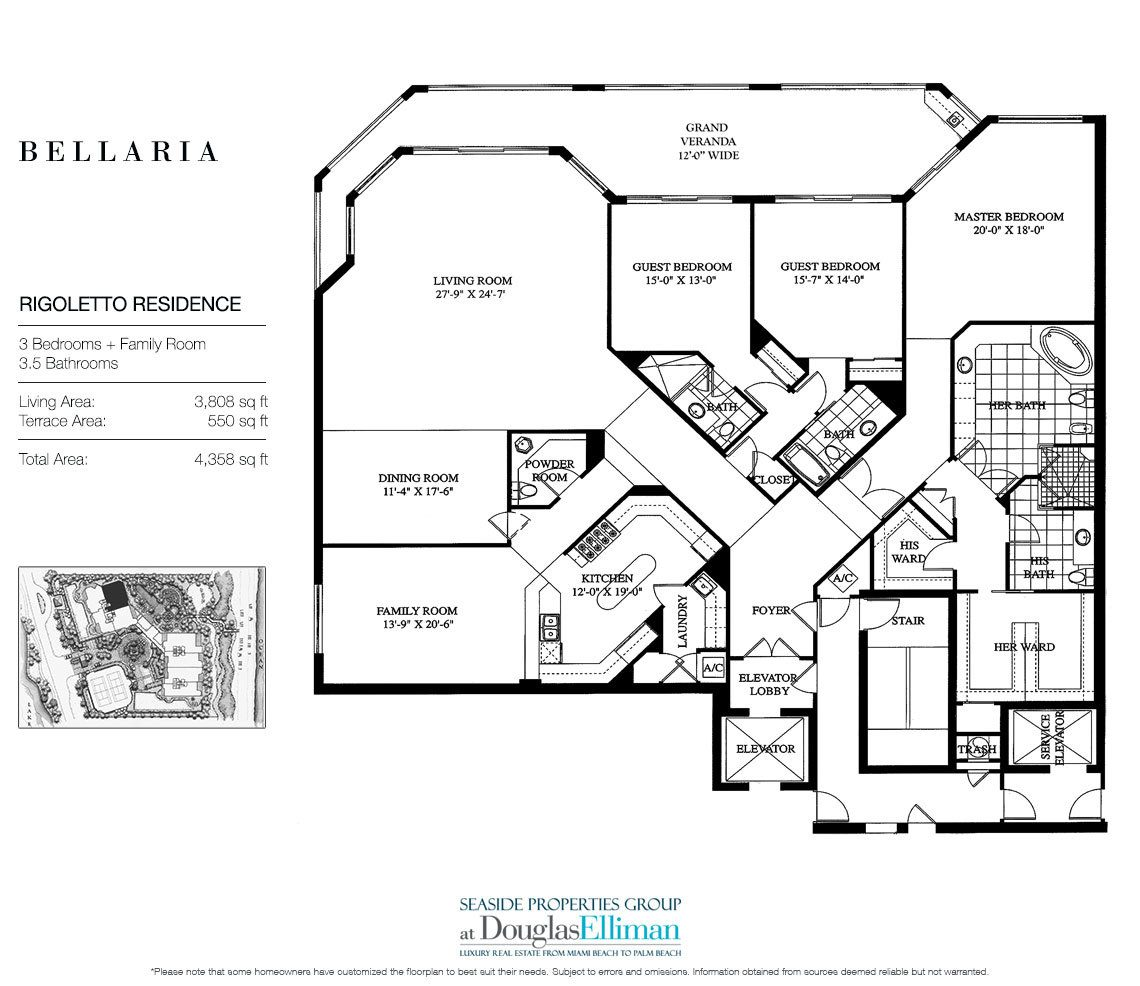 Floorplan for Residence 204 at Bellaria, Luxury Oceanfront Condominiums in Palm Beach, Florida 33480.