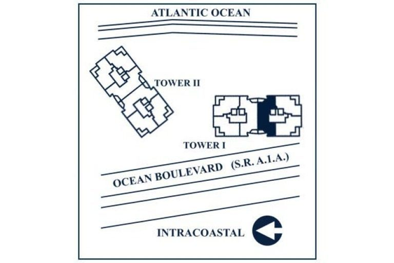 Siteplan for Residence 5D, Tower I at The Palms, Luxury Oceanfront Condominiums Fort Lauderdale, Florida 33305