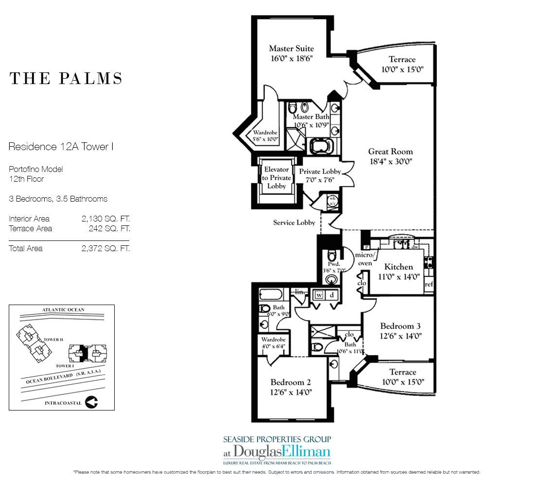 Floorplan for Residence 12A, Tower I at The Palms, Luxury Oceanfront Condominiums Fort Lauderdale, Florida 33305