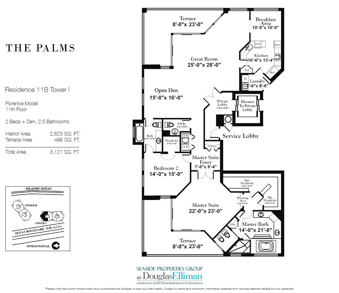 Floorplan for Residence 11B, Tower I at The Palms, Luxury Oceanfront Condominiums Fort Lauderdale, Florida 33305