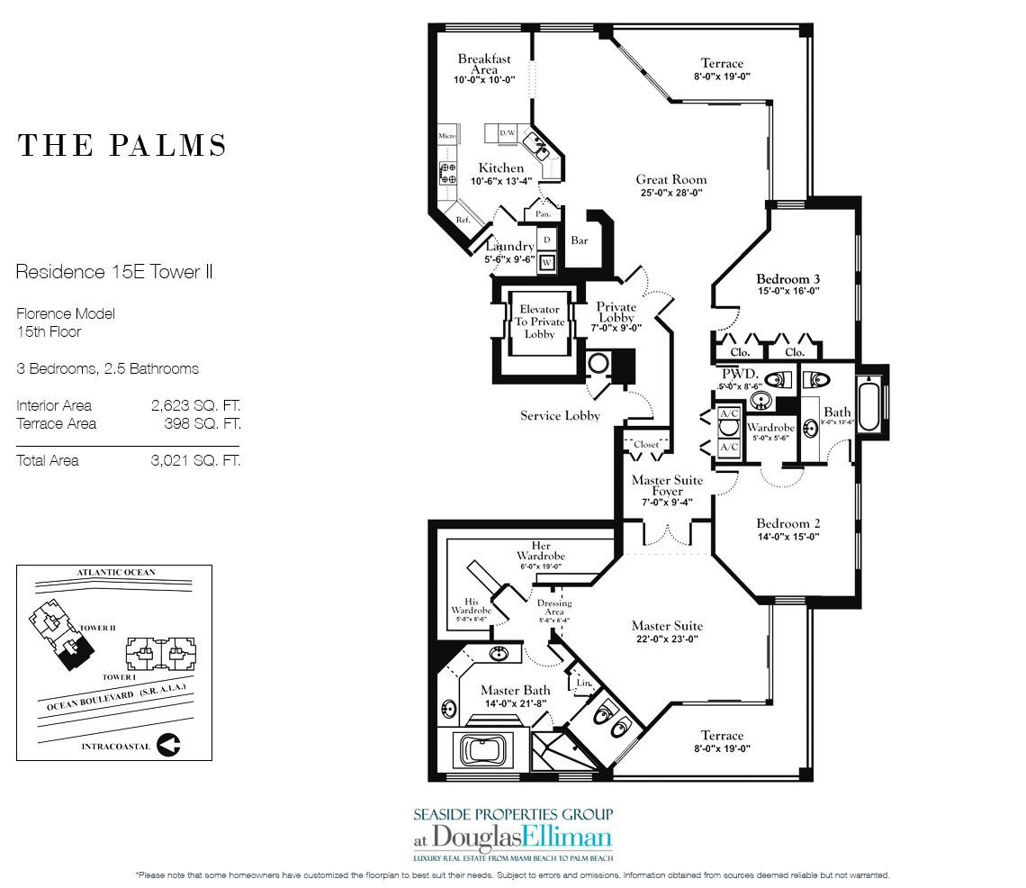 Floorplan for Residence 15E, Tower II at The Palms, Luxury Oceanfront Condos in Fort Lauderdale, Florida 33305.