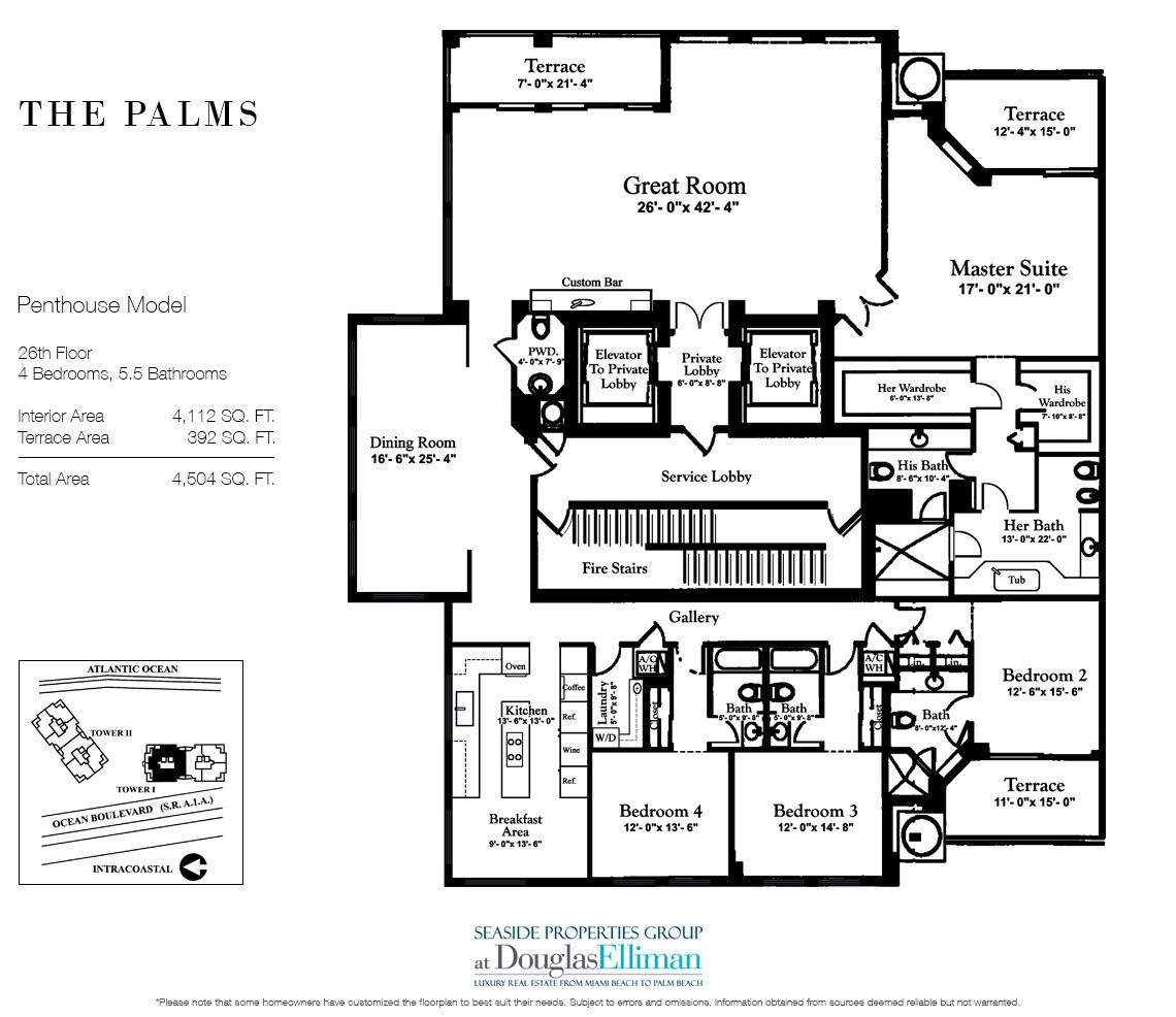 Floorplan for Penthouse Residence 26A, Tower I at The Palms, Luxury Oceanfront Condos in Fort Lauderdale, Florida 33305.
