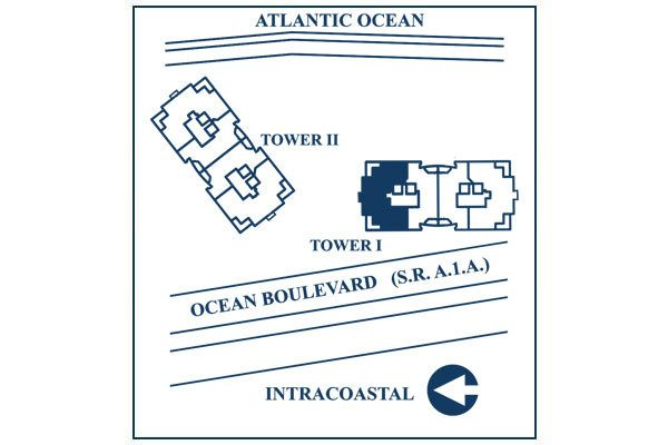 Siteplan for Residence 12B, Tower I at The Palms, Luxury Oceanfront Condominiums Fort Lauderdale, Florida 33305