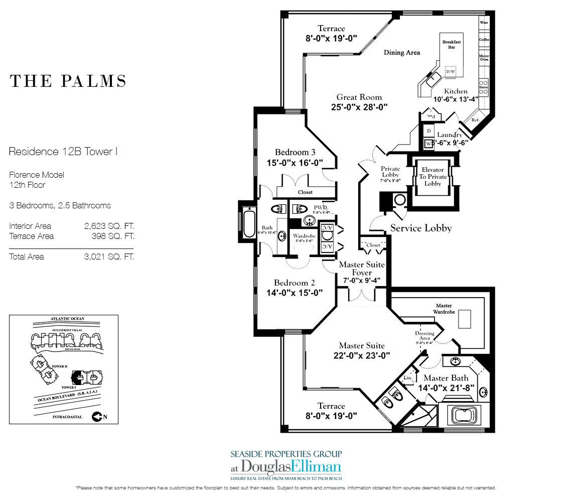 Floorplan for Residence 12B, Tower I at The Palms, Luxury Oceanfront Condominiums Fort Lauderdale, Florida 33305
