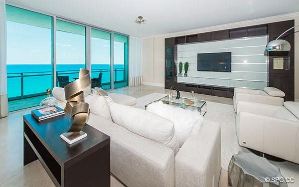 Elegant Living Room with Ocean Views inside Residence 1703 at One Bal Harbour, Luxury Oceanfront Condominiums in Miami, Florida 33154