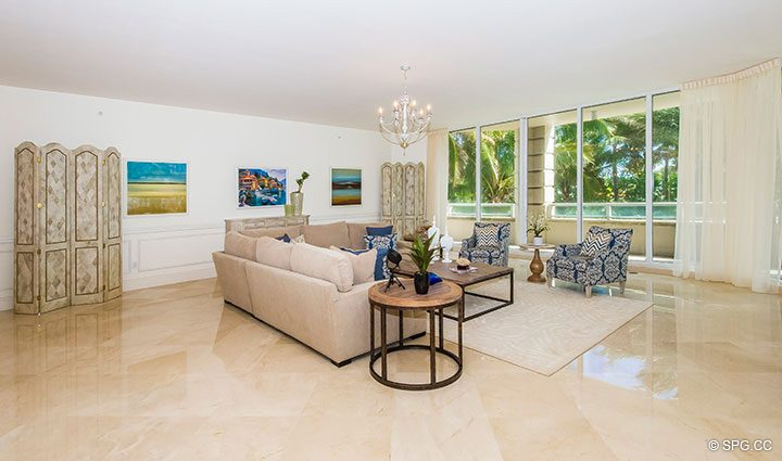 Living Room inside Residence 204 at Bellaria, Luxury Oceanfront Condominiums in Palm Beach, Florida 33480.