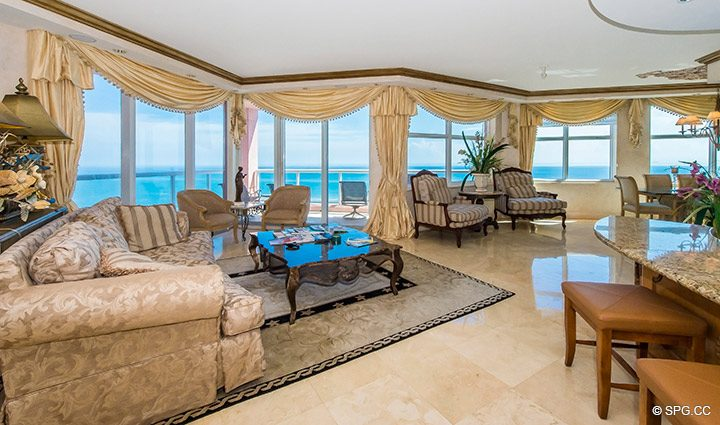 Living Room inside Residence 18B, Tower I at The Palms, Luxury Oceanfront Condominiums Fort Lauderdale, Florida 33305