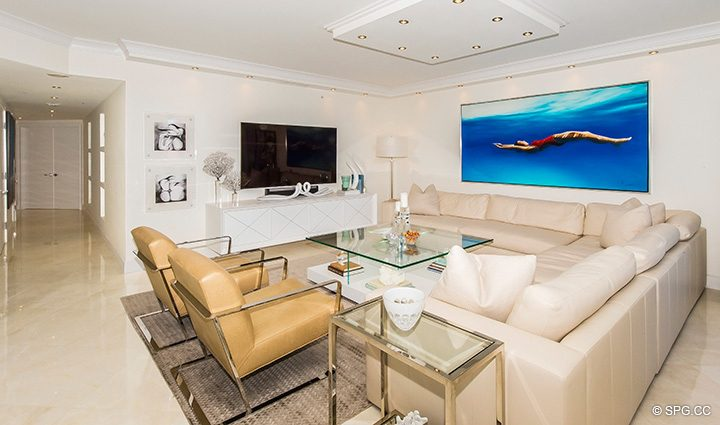 Designer Decorated Living Room in Residence 5D, Tower I at The Palms, Luxury Oceanfront Condominiums Fort Lauderdale, Florida 33305