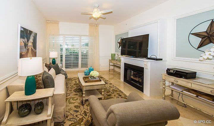 Family Room / Den in Residence 204 at Bellaria, Luxury Oceanfront Condominiums in Palm Beach, Florida 33480.