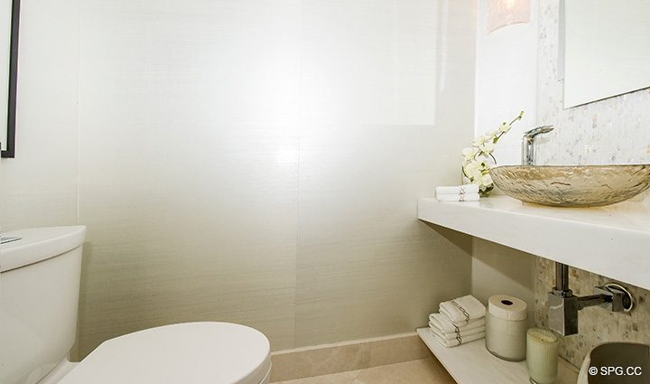 Powder Room inside Residence 5D, Tower I at The Palms, Luxury Oceanfront Condominiums Fort Lauderdale, Florida 33305