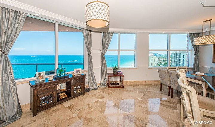 Dining Room View in Residence 17B, Tower II at The Palms, Luxury Oceanfront Condos in Fort Lauderdale, Florida 33305.