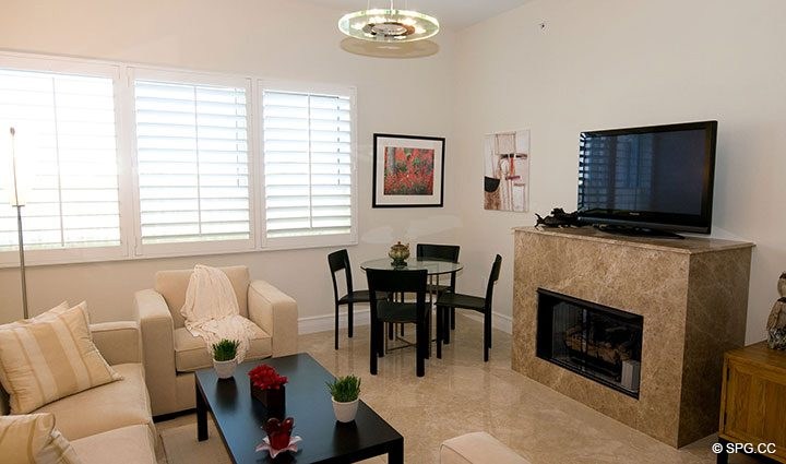 Family Room in Residence 304 at Bellaria, Luxury Oceanfront Condominiums in Palm Beach, Florida 33480.
