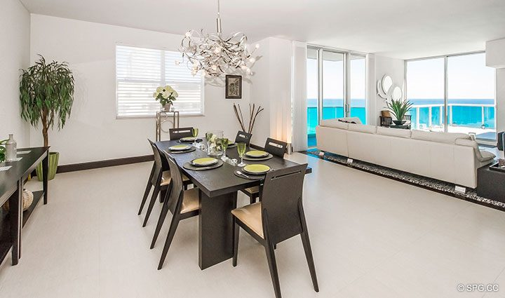 Dining Room in Penthouse 10 at Sian Ocean Residences, Luxury Oceanfront Condominiums Hollywood Beach, Florida 33019