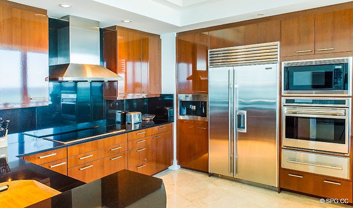 Gourmet Kitchen inside Residence 902 For Rent at One Bal Harbour, Luxury Oceanfront Condos in Bal Harbour, Miami, Florida 33154.