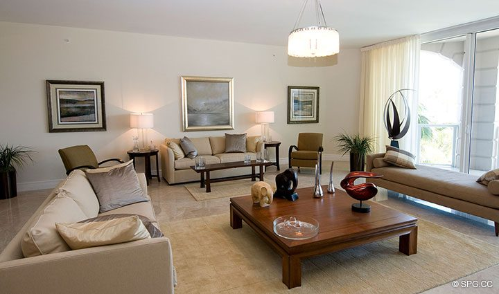 Beautifully Furnished Living Room in Residence 304 at Bellaria, Luxury Oceanfront Condominiums in Palm Beach, Florida 33480.