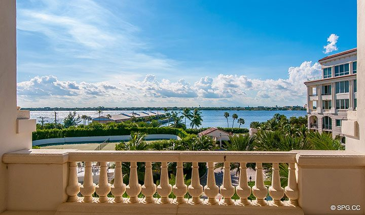 Lakeside Terrace for Residence 406 at Bellaria, Luxury Oceanfront Condominiums in Palm Beach, Florida 33480.