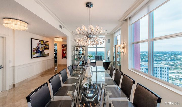 Formal Dining Room in Penthouse Residence 26A, Tower I at The Palms, Luxury Oceanfront Condos in Fort Lauderdale, Florida 33305.