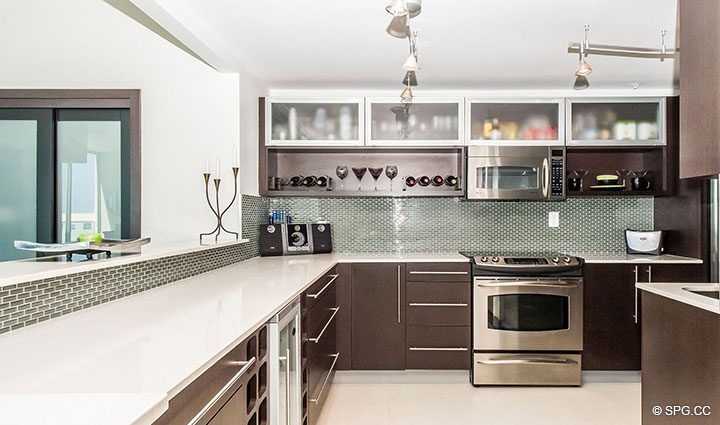Kitchen with Custom Cabinets in Penthouse 10 at Sian Ocean Residences, Luxury Oceanfront Condominiums Hollywood Beach, Florida 33019