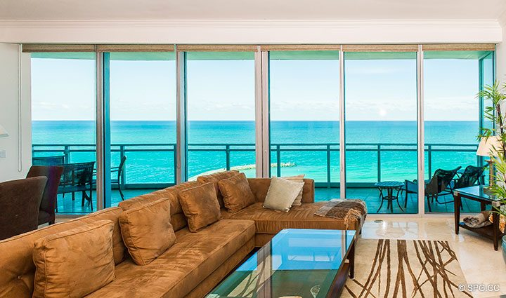 Living Room Overlooking Terrace in Residence 902 For Rent at One Bal Harbour, Luxury Oceanfront Condos in Bal Harbour, Miami, Florida 33154.