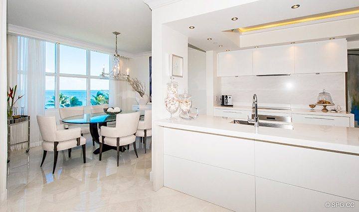 Renovated Kitchen and Dining Room in Residence 5D, Tower I at The Palms, Luxury Oceanfront Condominiums Fort Lauderdale, Florida 33305