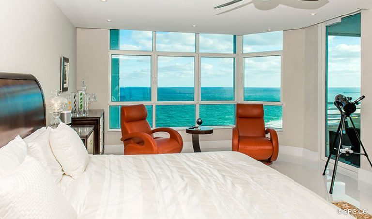 Beachfront Master Suite in Residence 18D at Cristelle, Luxury Oceanfront Condominiums in Lauderdale by the Sea, Florida 33062.