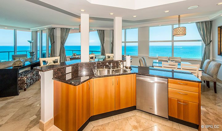 Open Gourmet Kitchen in Residence 17B, Tower II at The Palms, Luxury Oceanfront Condos in Fort Lauderdale, Florida 33305.