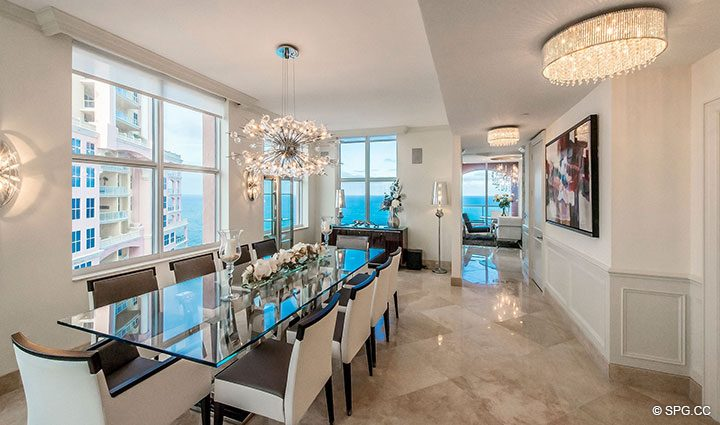 Dining Room inside Penthouse Residence 26A, Tower I at The Palms, Luxury Oceanfront Condos in Fort Lauderdale, Florida 33305.