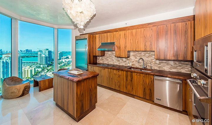 Custom Gourmet Kitchen in Residence 3806 at Portofino Tower, Luxury Waterfront Condominiums in Miami Beach, Florida 33139