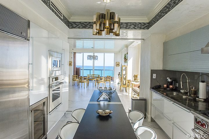 Updated Gourmet Kitchen in Residence 1106 at Acqualina, Luxury Oceanfront Condominiums in Sunny Isles Beach, Florida 33160