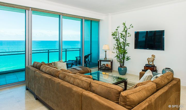 Living Room Ocean Views from Residence 902 For Rent at One Bal Harbour, Luxury Oceanfront Condos in Bal Harbour, Miami, Florida 33154.