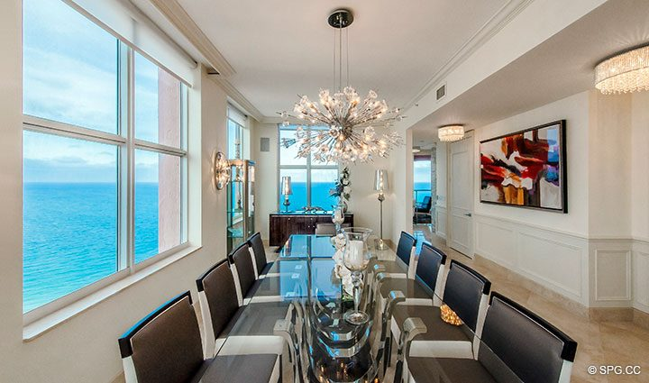 Dining Room with Ocean Views in Penthouse Residence 26A, Tower I at The Palms, Luxury Oceanfront Condos in Fort Lauderdale, Florida 33305.