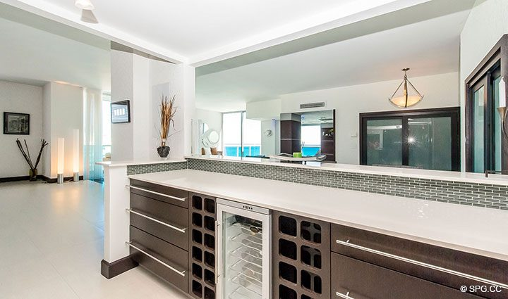 Open Kitchen Design in Penthouse 10 at Sian Ocean Residences, Luxury Oceanfront Condominiums Hollywood Beach, Florida 33019
