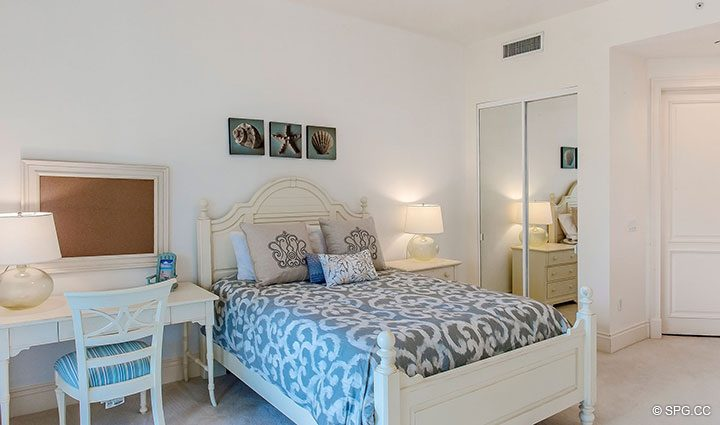 Guest Bedroom inside Residence 204 at Bellaria, Luxury Oceanfront Condominiums in Palm Beach, Florida 33480.
