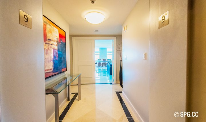 Front Entrance inside Residence 9B Tower 2 For Sale at The Palms, Luxury Oceanfront Condominiums Fort Lauderdale, Florida 33305