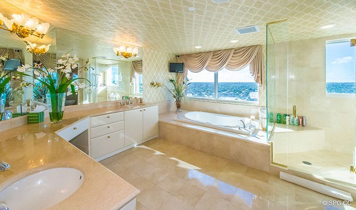 Master Bath inside Residence 18B, Tower I at The Palms, Luxury Oceanfront Condominiums Fort Lauderdale, Florida 33305